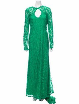 Emilio Pucci Lace Pattern Long Dress Green