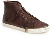 Frye Greene Back Zip Shearling Lined Leather High Top Sneaker