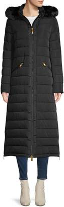 Donna Karan Faux Fur-Trim Quilted Hooded Coat