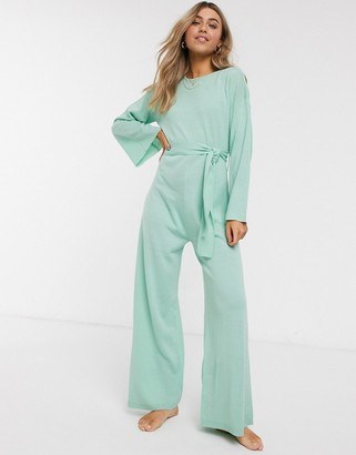 Asos DESIGN lounge tie waist knitted jumpsuit