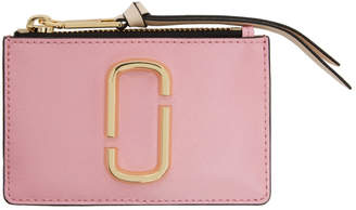 Marc Jacobs Pink and Red Top Zip Multi Card Holder