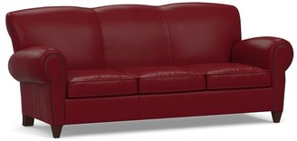 Pottery Barn Manhattan Leather Sleeper Sofa with Nailheads