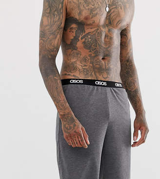 Asos Design DESIGN lounge pyjama shorts in charcoal marl with branded waistband-Grey