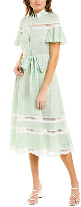 Lela Rose Silk-Blend Midi Dress