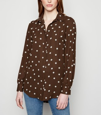 New Look Tall Spot Dip Hem Long Sleeve Shirt
