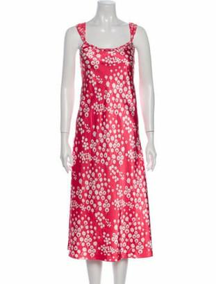 Oscar de la Renta Floral Print Midi Length Dress Pink
