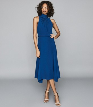 Reiss Jenna - Midi Dress With Bow Detail in Cobalt Blue
