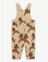 Mini Rodini Donkey-print cotton dungarees 1 month-3 years