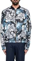 MSGM Gray/light Blue Floral Print Jacket