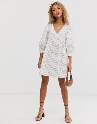 Asos Design DESIGN v front v back smock mini dress in polka dot