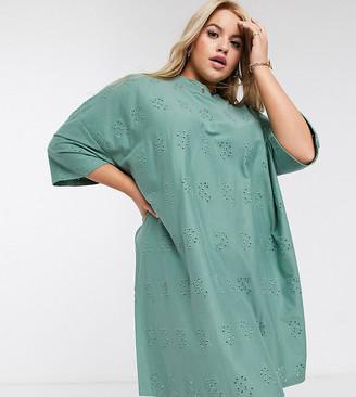 ASOS DESIGN Curve broderie super oversized t-shirt dress in khaki