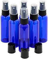 Cobalt Blue 2 Ounce PET (Plastic) Bottles High Quality Refillable Set of 6 with 6 Black Mister Spray Caps Plus BONUS 3 Disc-Tops for Essential Oils, Home and Beauty Products