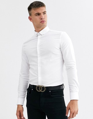 Asos Design DESIGN skinny fit textured shirt with collar bar in white