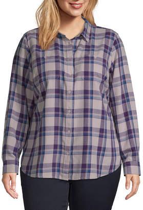 ST. JOHN'S BAY Plus Womens Long Sleeve Regular Fit Button-Front Shirt
