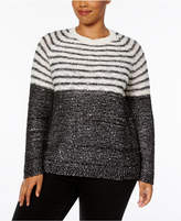NY Collection Plus Size Sequined Striped Sweater
