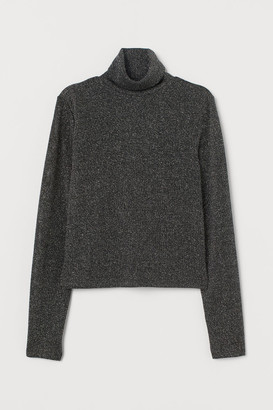 H&M Glittery Turtleneck Sweater - Black