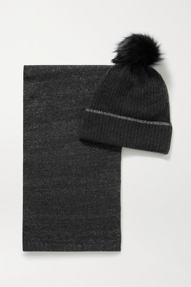 Portolano Faux Fur-trimmed Metallic Cashmere-blend Beanie And Scarf Set - Gray