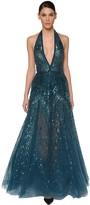 Elie Saab Sequin & Beads Embellished Tulle Dress