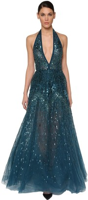 Elie Saab Sequin & Beads Embellished Tulle Dress