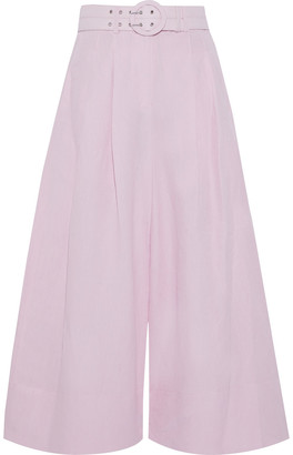 Nicholas Belted Silk And Linen-blend Culottes