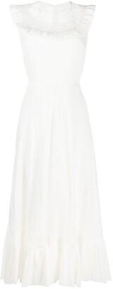Parlor Ruffled Lace Bib Dress