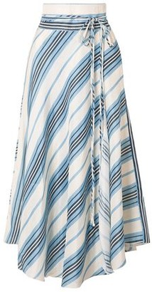 Apiece Apart Rosehip Wrap-effect Striped Linen And Silk-blend Midi Skirt