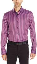 Stone Rose Men's Birdseye Vertical Stripe Long Sleeve Button Down Shirt