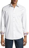 Robert Graham Volcanic Rock Woven Button-Front Shirt, White