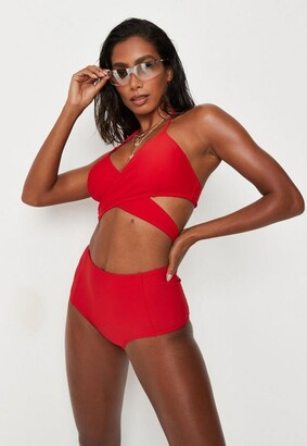Missguided Red Mix And Match High Waisted Bikini Bottoms