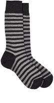 Barneys New York Men's Striped Mid-Calf Socks-DARK GREY