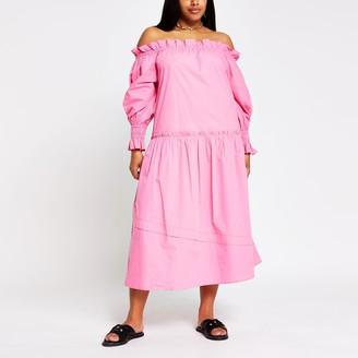 River Island Womens Plus bright Pink bardot puff dress