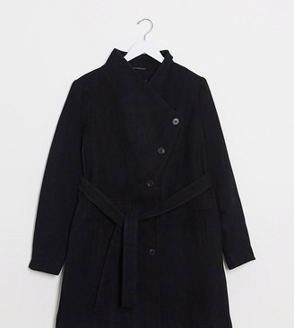 Vero Moda Curve funnel neck coat in black