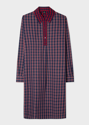 Paul Smith Women's Red And Navy Tartan Shirt Dress