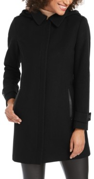 Michael Kors Michael Faux-Leather-Trim Hooded Coat