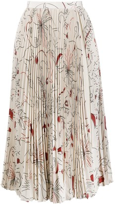 Ports 1961 Pleated Floral Print Skirt