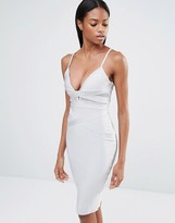 Missguided Bandage Strappy Mesh Insert Midi Dress
