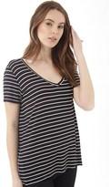 Jacqueline De Yong Womens Spirit Stripe V-Neck T-Shirt Black