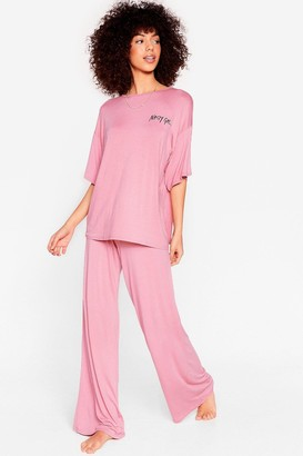 Nasty Gal Womens Word on the Street Tee Lounge Set - Nude