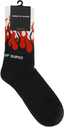 Vision Of Super Black And Red Double Flames Socks