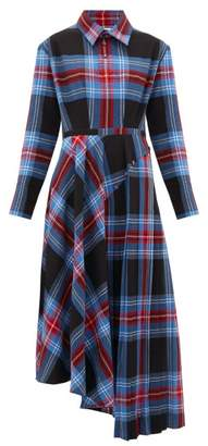 Charles Jeffrey Loverboy Asymmetric Pleated Tartan-seersucker Midi Dress - Womens - Blue Multi