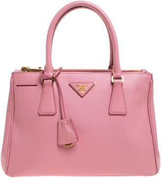 Prada Pink Saffiano Lux Leather Small Double Zip Tote