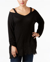 Style&Co. Style & Co. Plus Size Cold-Shoulder Crochet-Hem Top, Only at Macy's