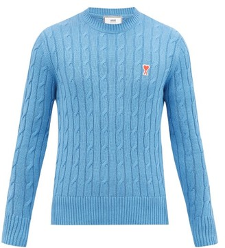 Ami Logo-patch Cabled-rib Cotton-blend Sweater - Blue