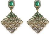 John Hardy Diamond gemstone 18k yellow gold scaly plate drop earrings