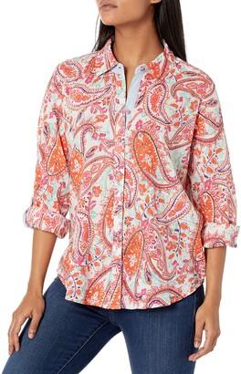 Foxcroft Women's Zoey Petite Summer Paisley Shirt