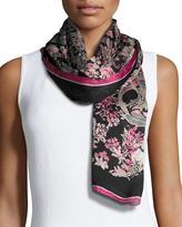 Roberto Cavalli Floral Printed Silk Scarf, Black/Red