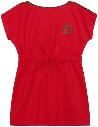 Gucci Embroidered Logo Technical Jersey Dress