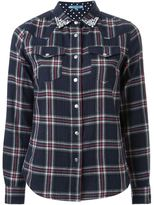 GUILD PRIME bejeweled collar plaid button down shirt - women - Cotton - 34