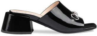 Gucci Patent leather mid-heel slides