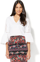 New York & Co. 7th Avenue - Open-Stitch Bell-Sleeve Blouse